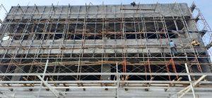 Pemasangan rangka curtain wall bsd